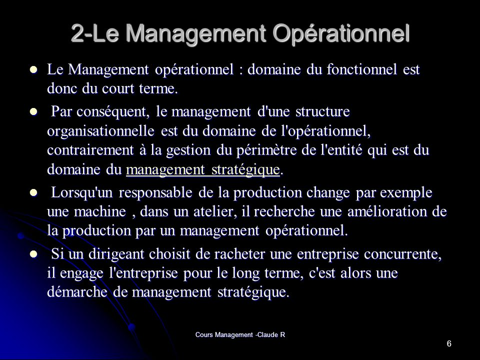 2-Le Management Opérationnel