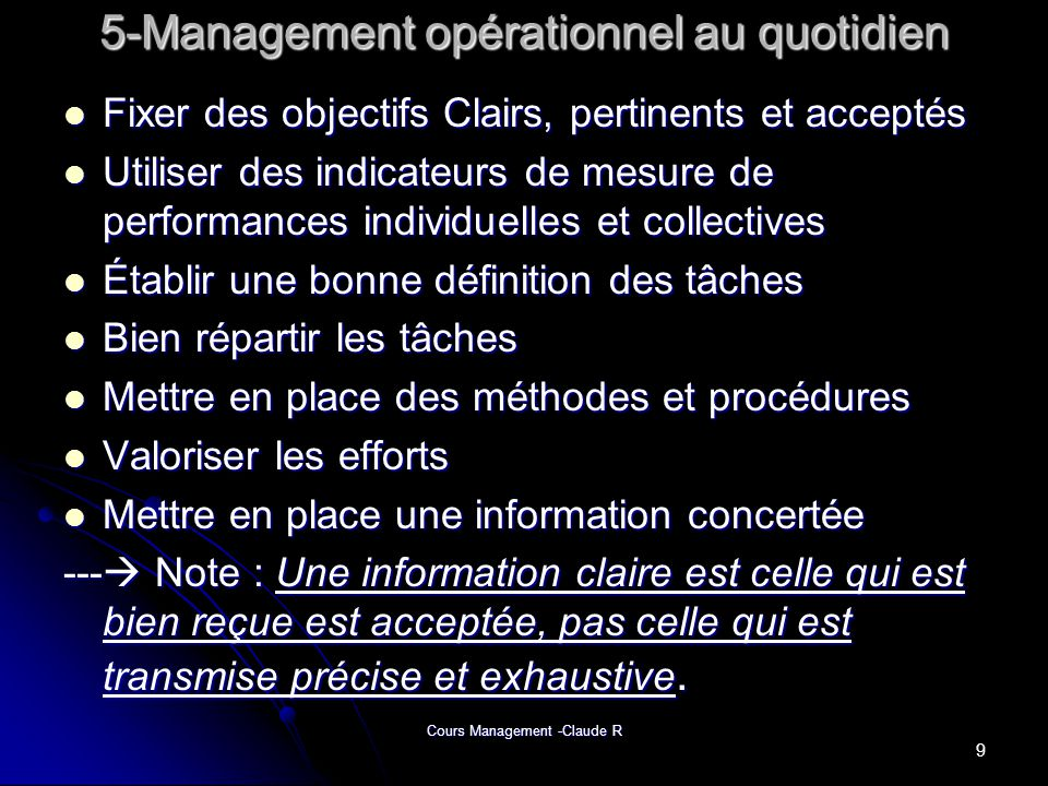 5-Management opérationnel au quotidien