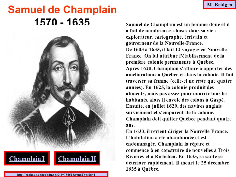 Samuel de Champlain 1570 - 1635 Champlain I Champlain II M. Bridgeo
