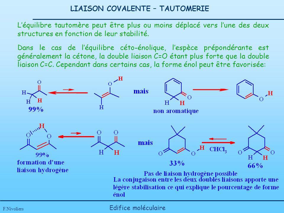 LIAISON COVALENTE – TAUTOMERIE