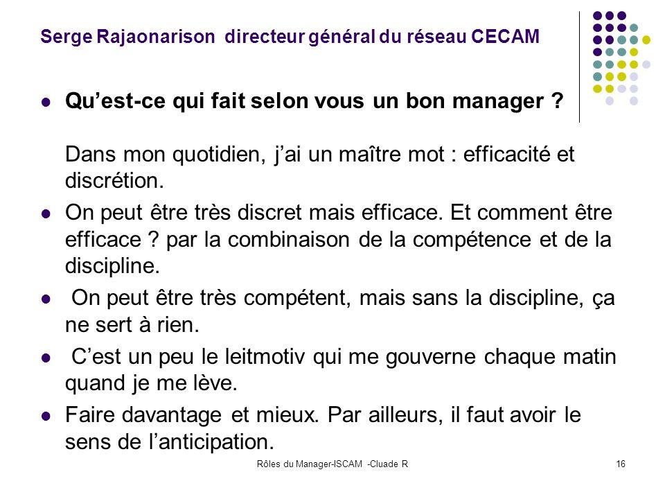 Serge Rajaonarison directeur général du réseau CECAM