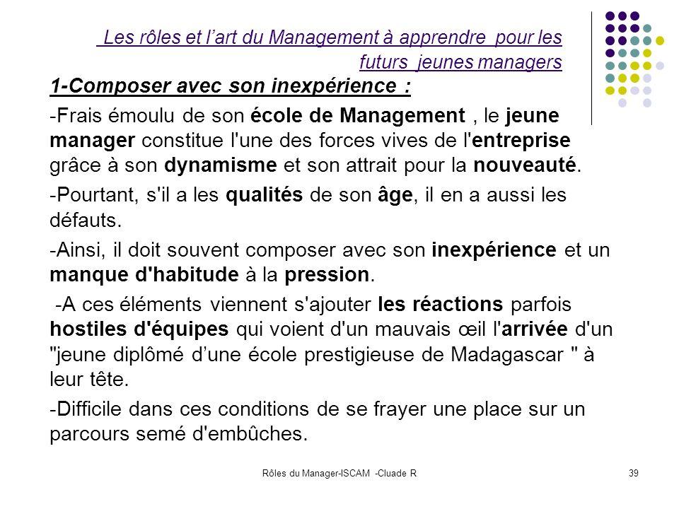 Rôles du Manager-ISCAM -Cluade R