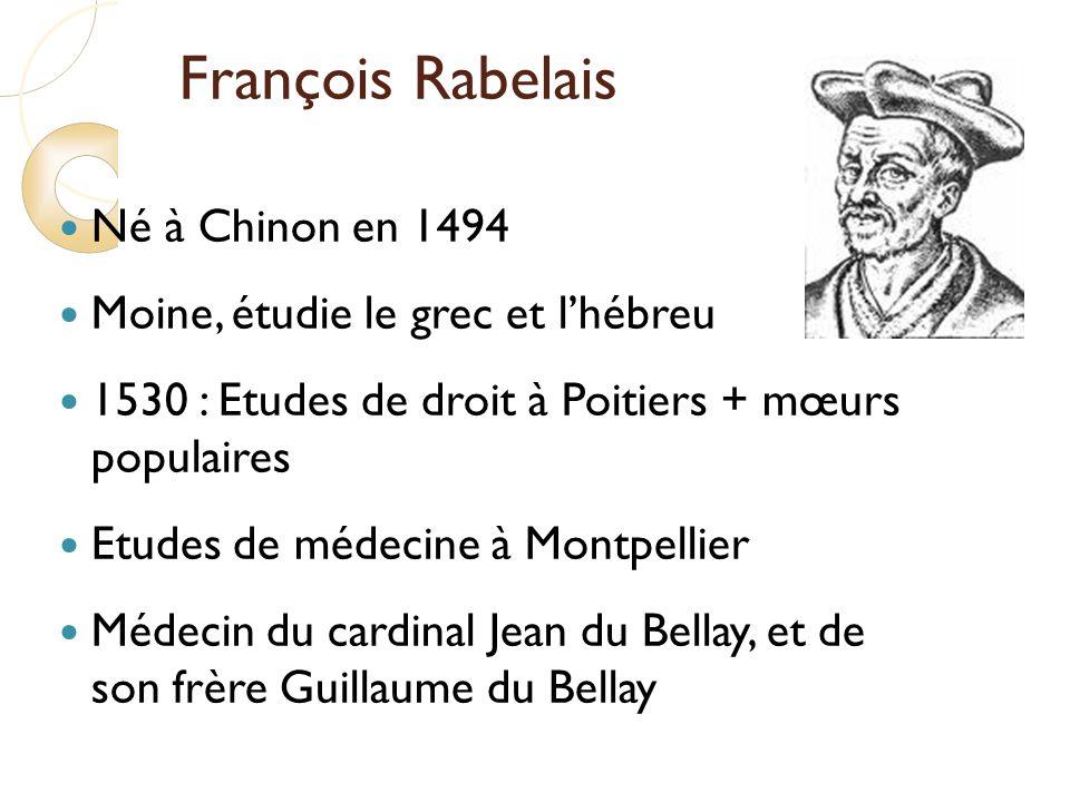 François Rabelais Né à Chinon en 1494