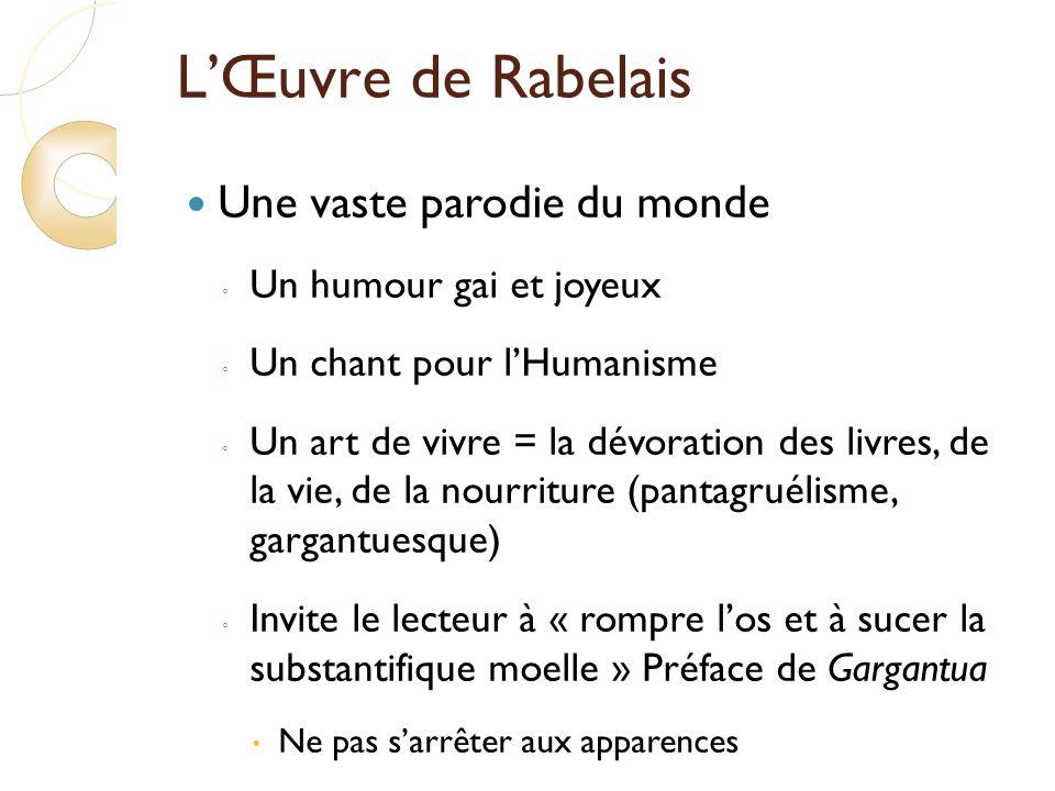 L'Œuvre de Rabelais Une vaste parodie du monde Un humour gai et joyeux