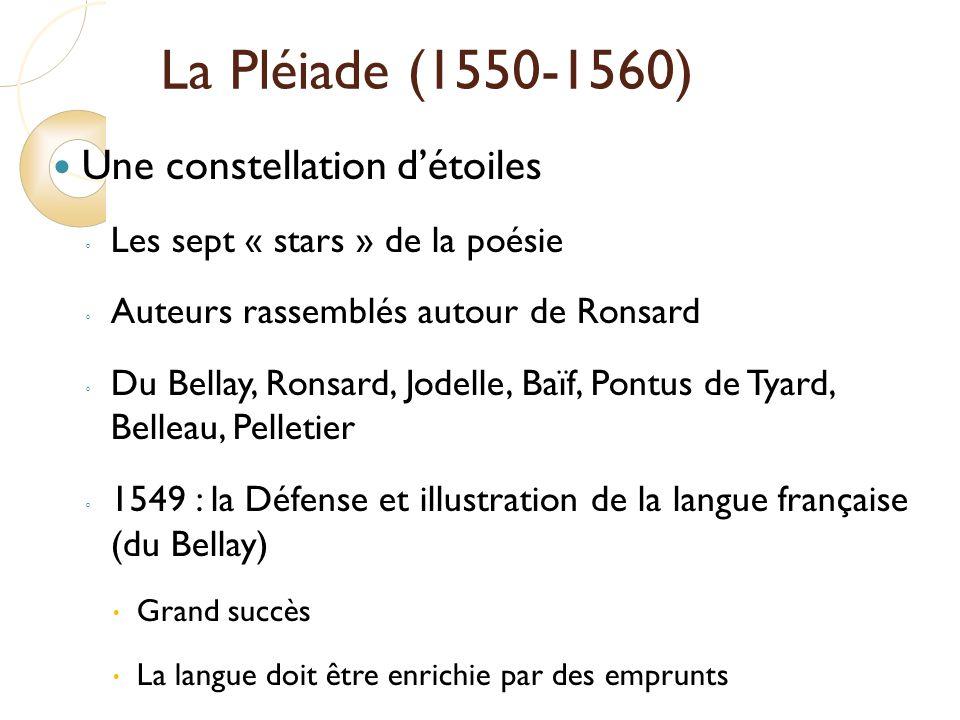 La Pléiade (1550-1560) Une constellation d'étoiles