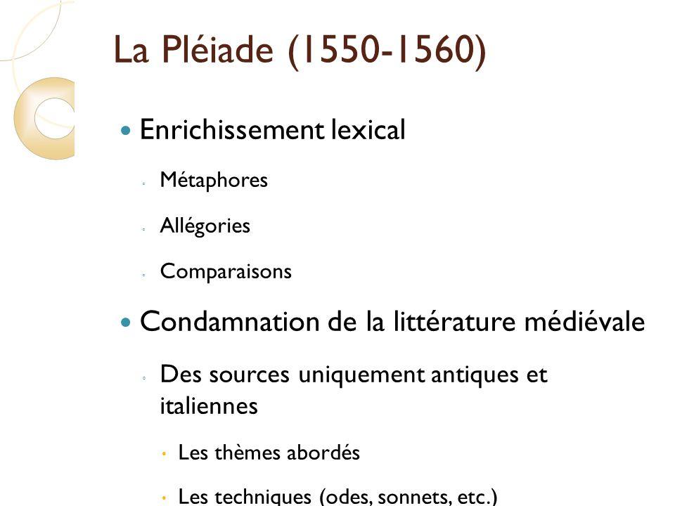 La Pléiade (1550-1560) Enrichissement lexical