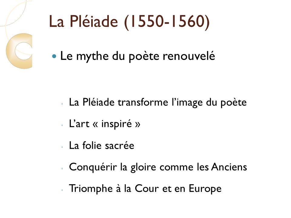 La Pléiade (1550-1560) Le mythe du poète renouvelé