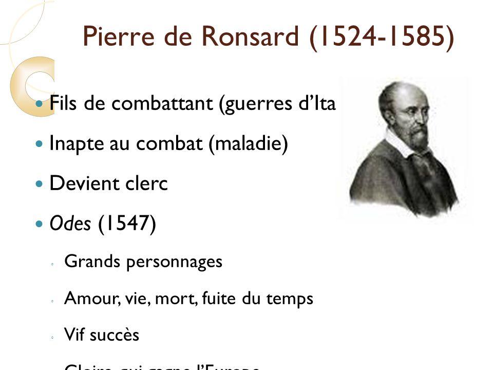 Pierre de Ronsard (1524-1585) Fils de combattant (guerres d'Italie)