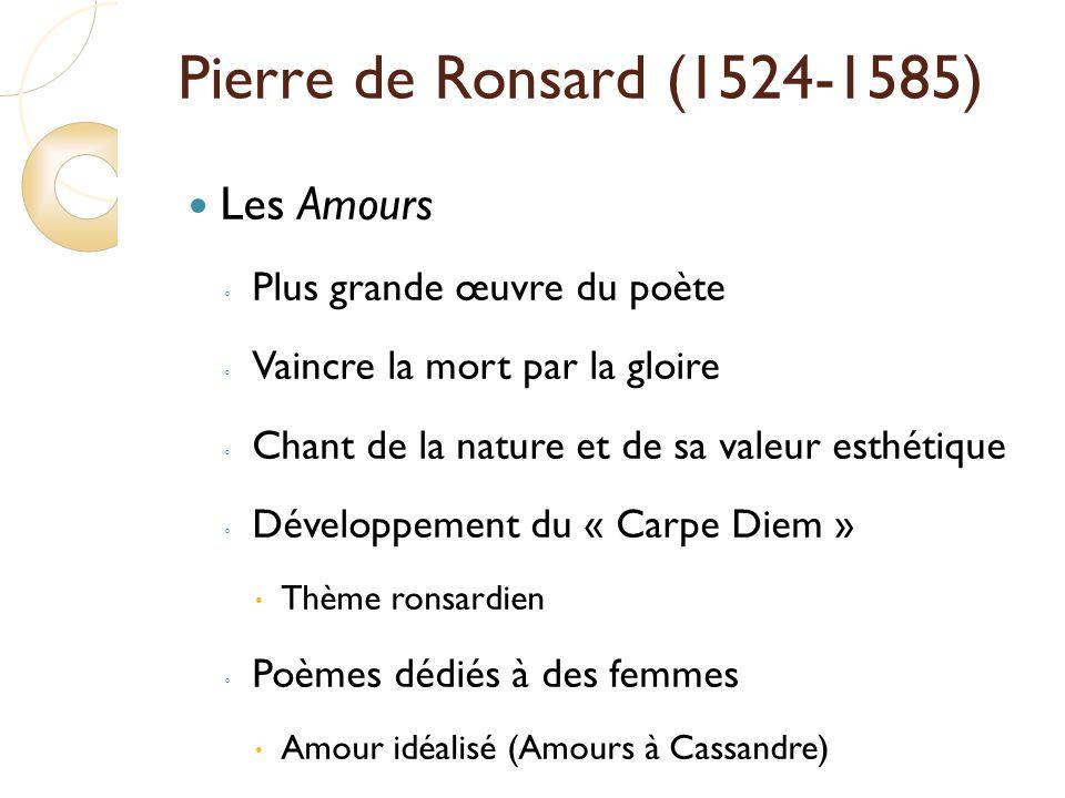 Pierre de Ronsard (1524-1585) Les Amours Plus grande œuvre du poète