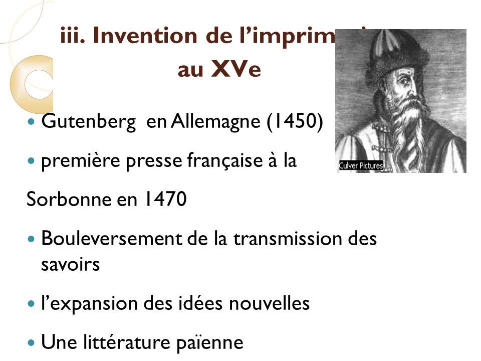 iii. Invention de l'imprimerie au XVe