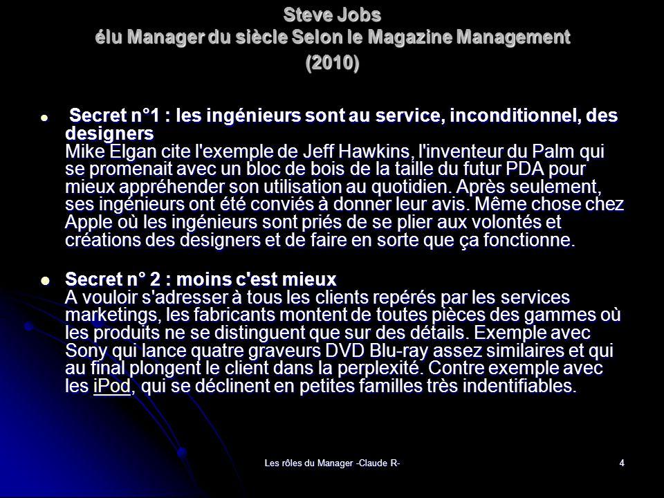 Steve Jobs élu Manager du siècle Selon le Magazine Management (2010)
