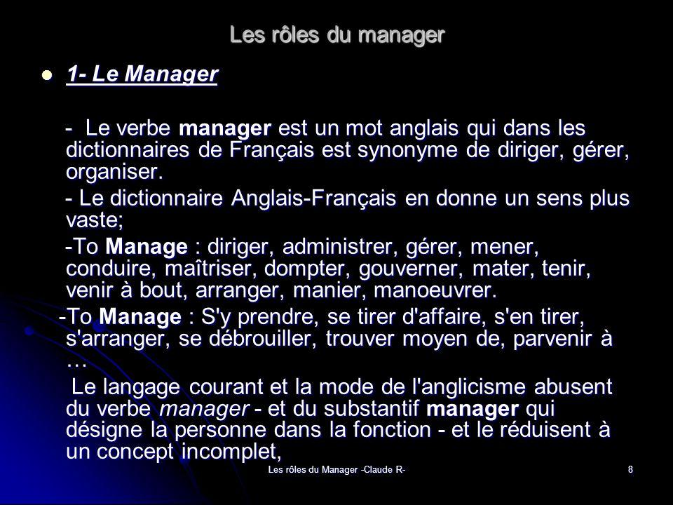 Les rôles du Manager -Claude R-