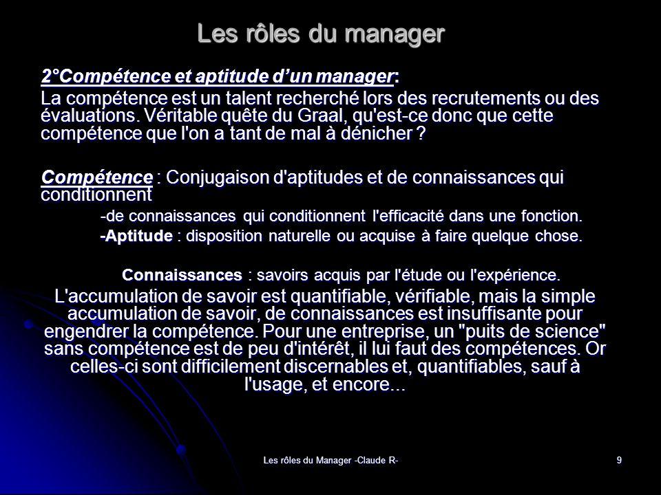 Les rôles du manager 2°Compétence et aptitude d'un manager: