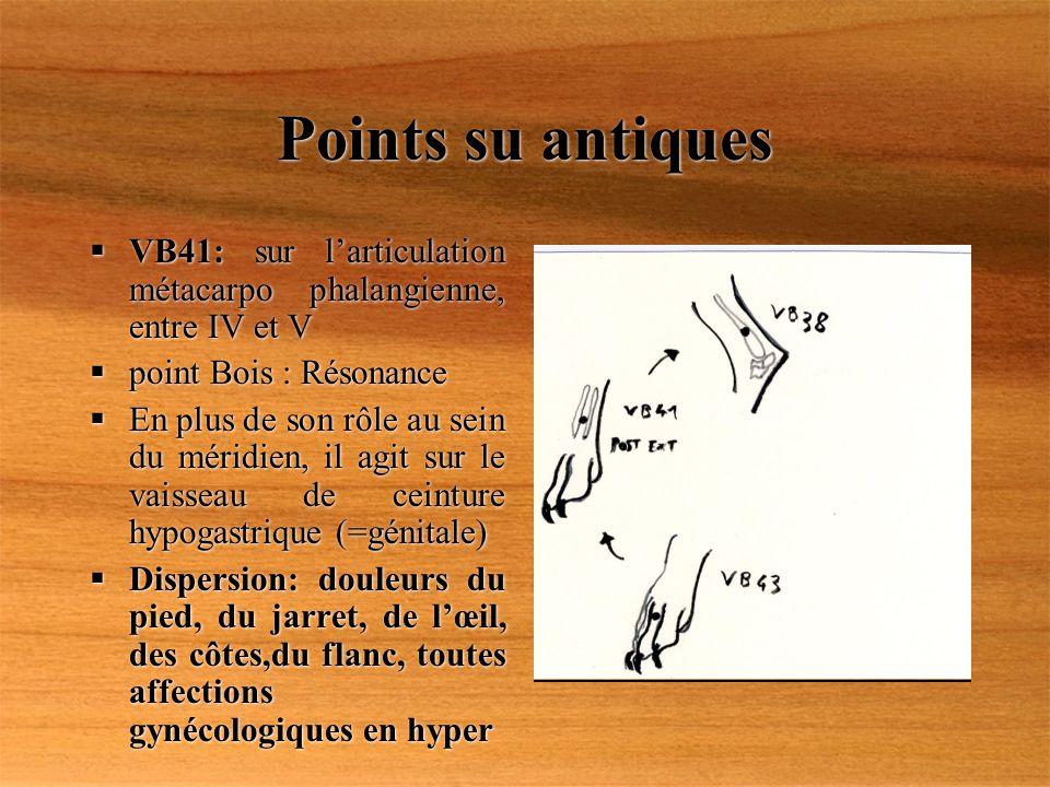 Points su antiques VB41: sur l'articulation métacarpo phalangienne, entre IV et V. point Bois : Résonance.