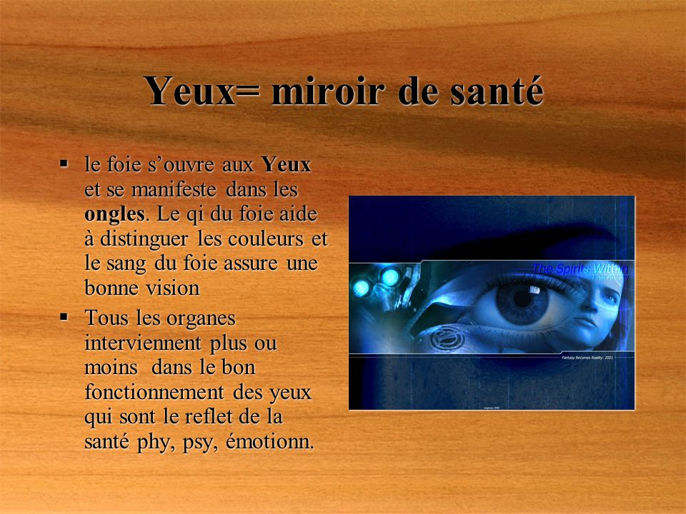 Yeux= miroir de santé