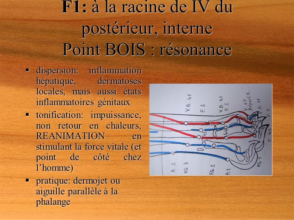 F1: à la racine de IV du postérieur, interne Point BOIS : résonance