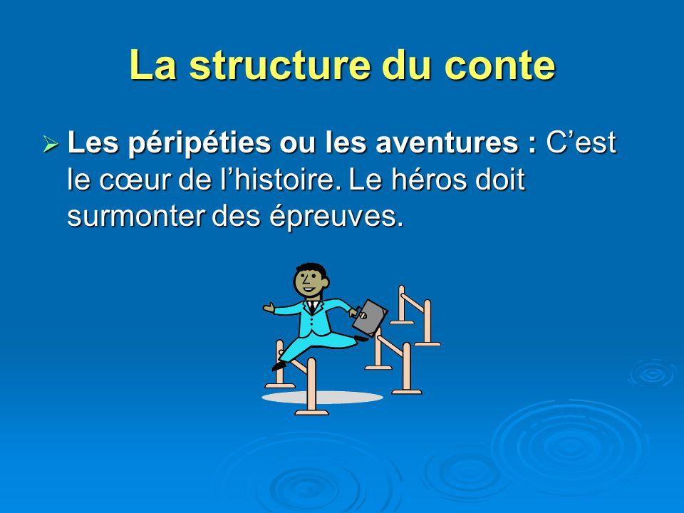 La structure du conte Les péripéties ou les aventures : C'est le cœur de l'histoire.