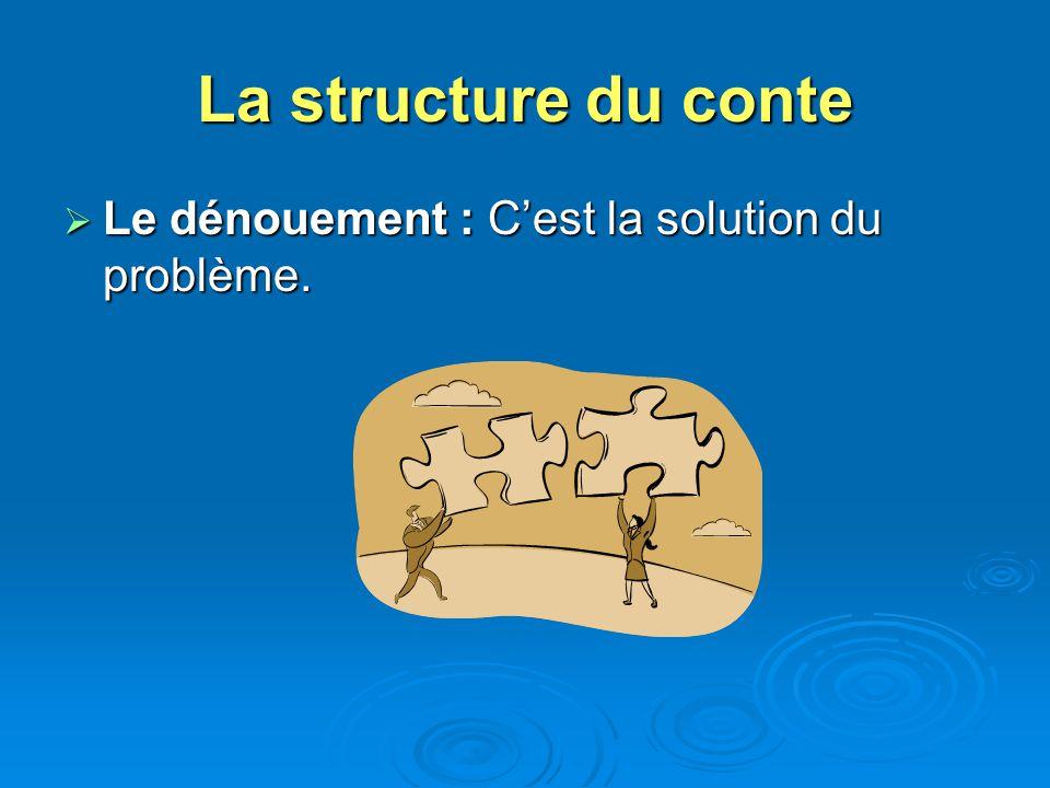 La structure du conte Le dénouement : C'est la solution du problème.