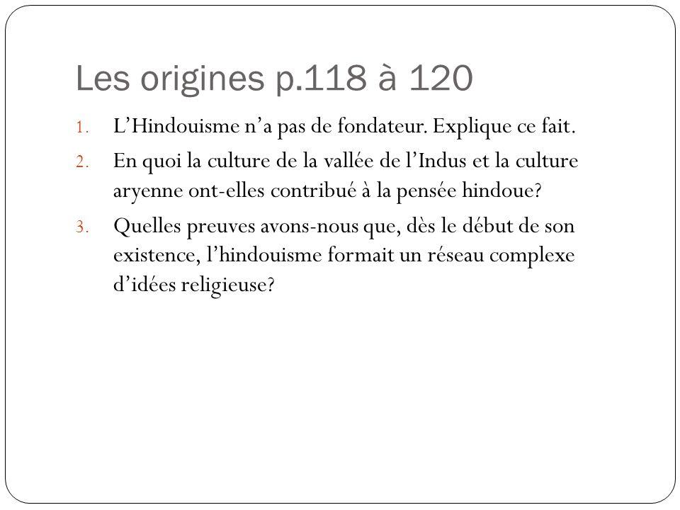 Les origines p.118 à 120 L'Hindouisme n'a pas de fondateur. Explique ce fait.
