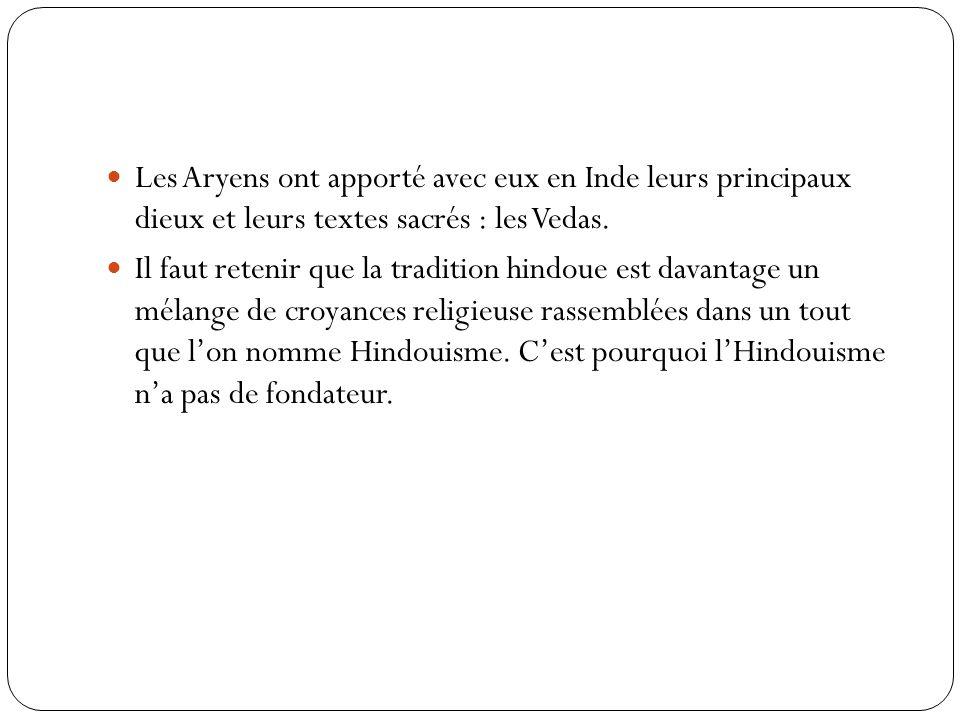 Les Aryens ont apporté avec eux en Inde leurs principaux dieux et leurs textes sacrés : les Vedas.