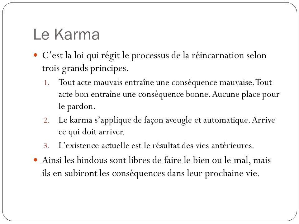 Le Karma C'est la loi qui régit le processus de la réincarnation selon trois grands principes.