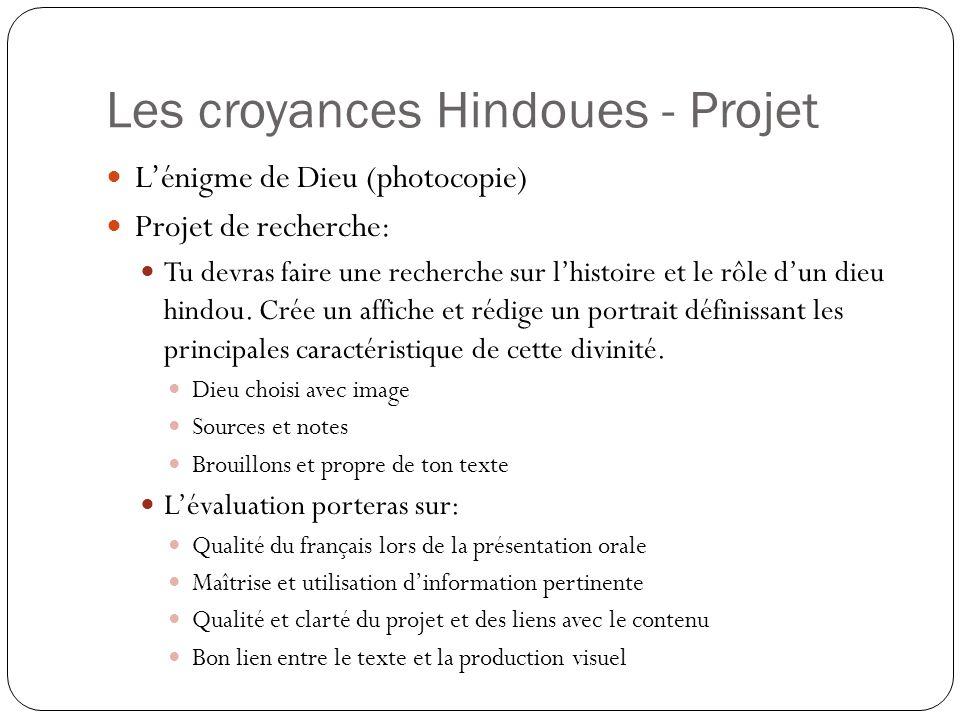Les croyances Hindoues - Projet