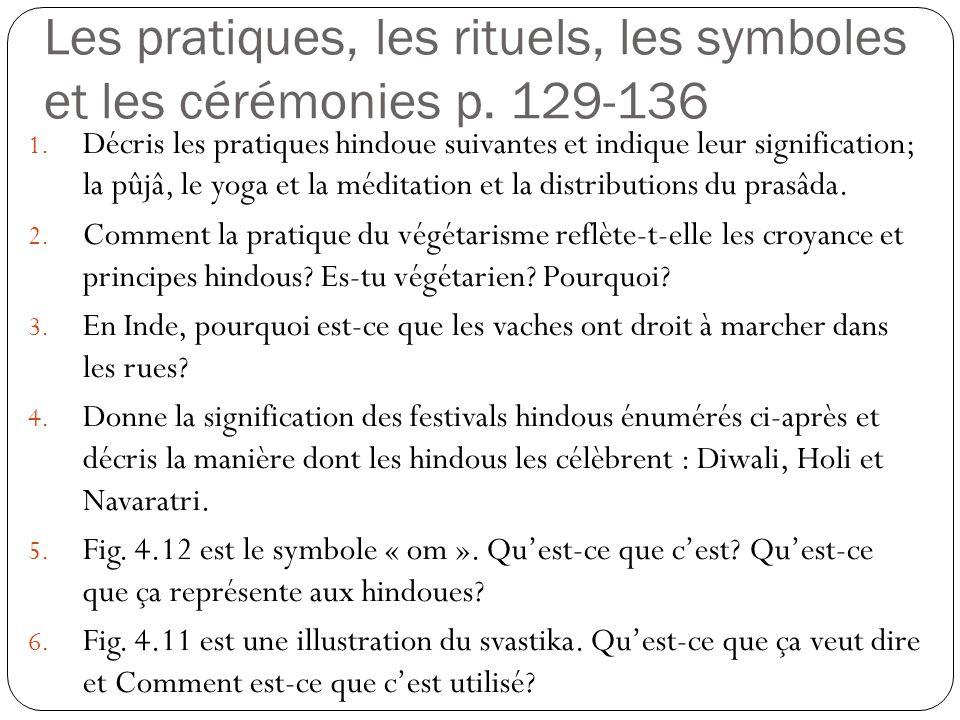 Les pratiques, les rituels, les symboles et les cérémonies p. 129-136