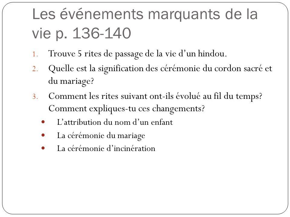 Les événements marquants de la vie p. 136-140