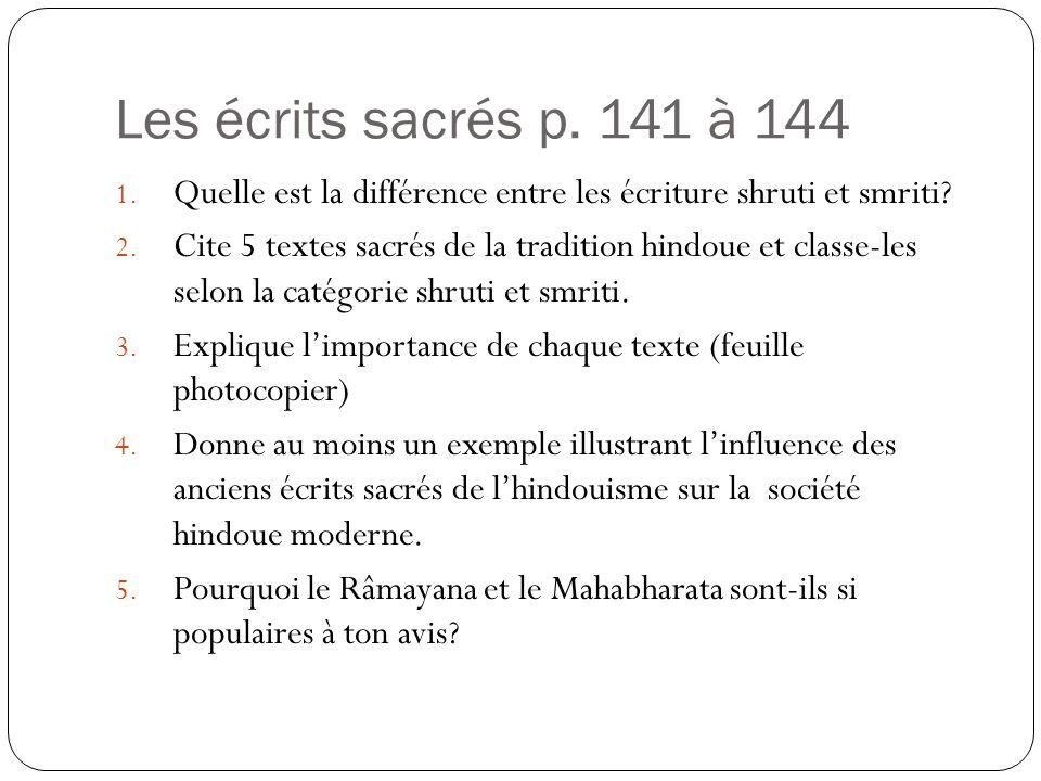 Les écrits sacrés p. 141 à 144 Quelle est la différence entre les écriture shruti et smriti