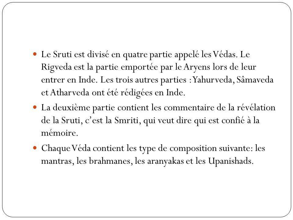 Le Sruti est divisé en quatre partie appelé les Védas