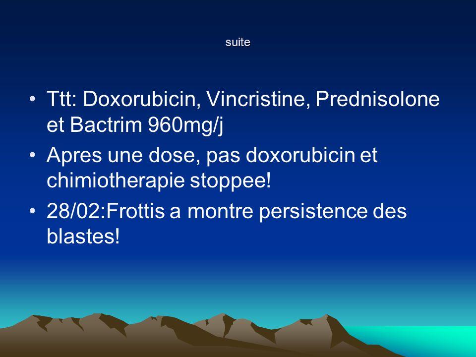 Ttt: Doxorubicin, Vincristine, Prednisolone et Bactrim 960mg/j