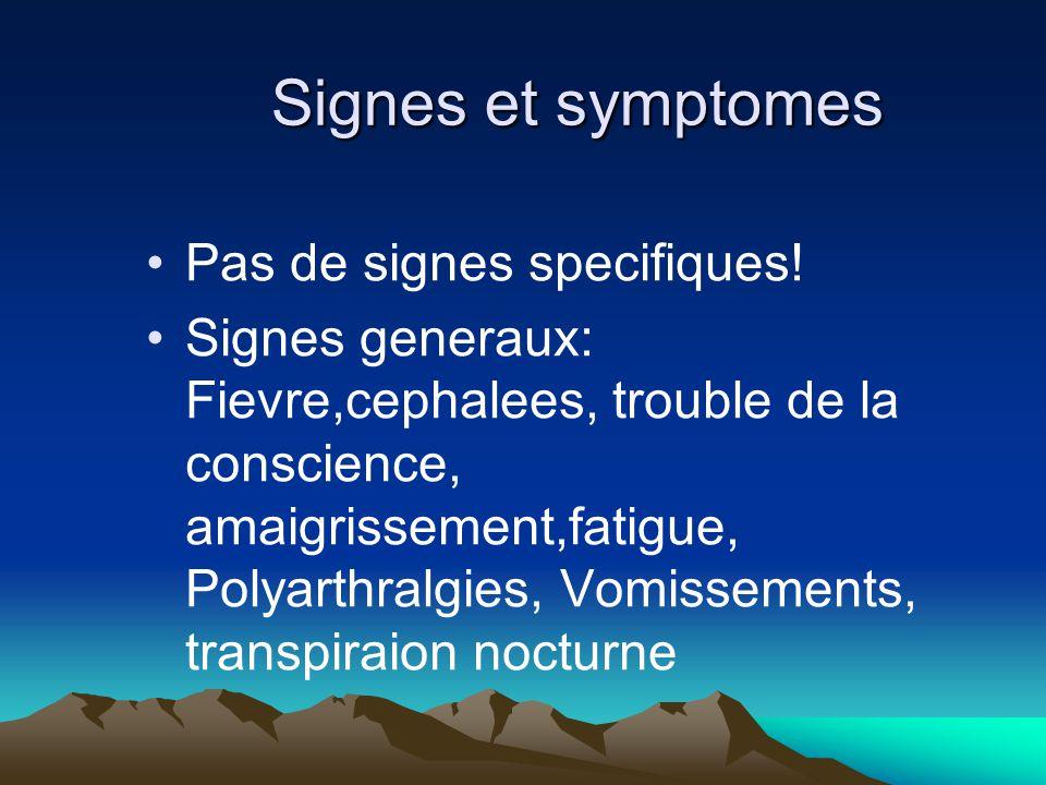 Signes et symptomes Pas de signes specifiques!