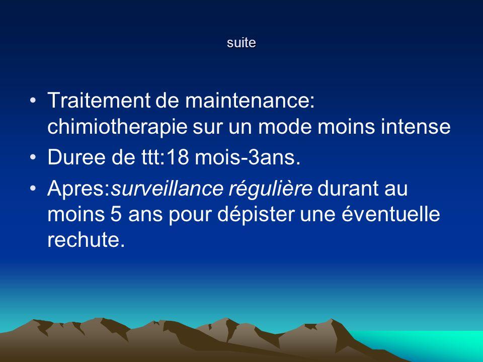 Traitement de maintenance: chimiotherapie sur un mode moins intense