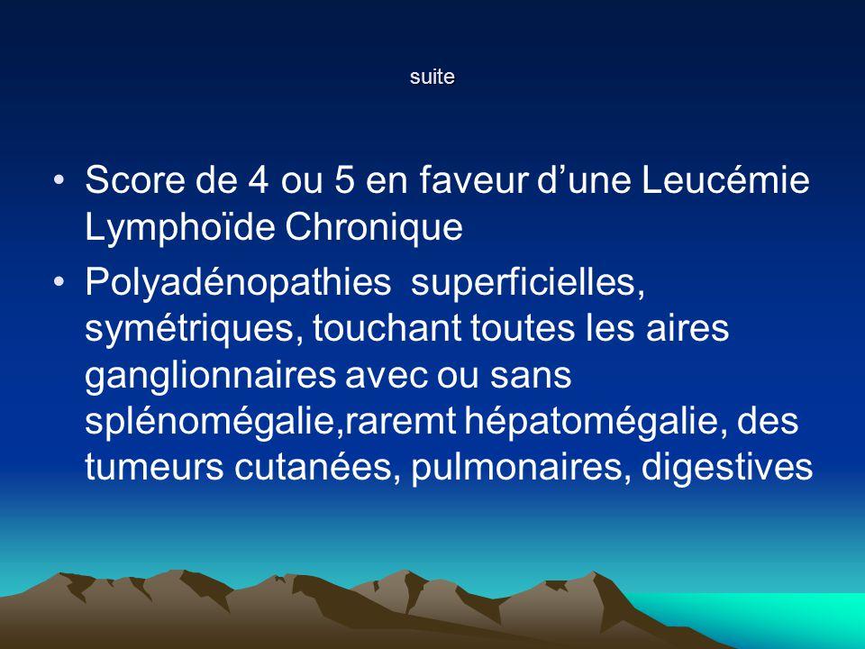 Score de 4 ou 5 en faveur d'une Leucémie Lymphoïde Chronique
