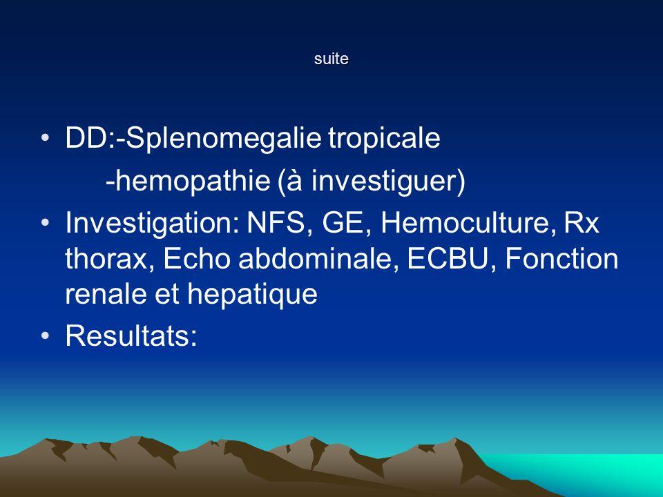 DD:-Splenomegalie tropicale -hemopathie (à investiguer)