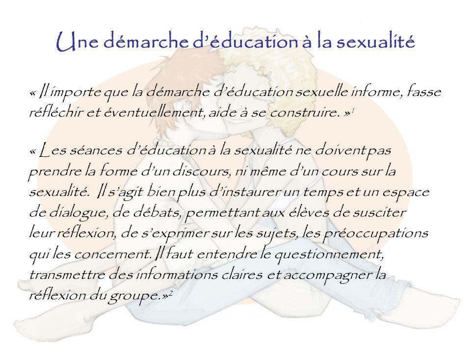 Une démarche d'éducation à la sexualité