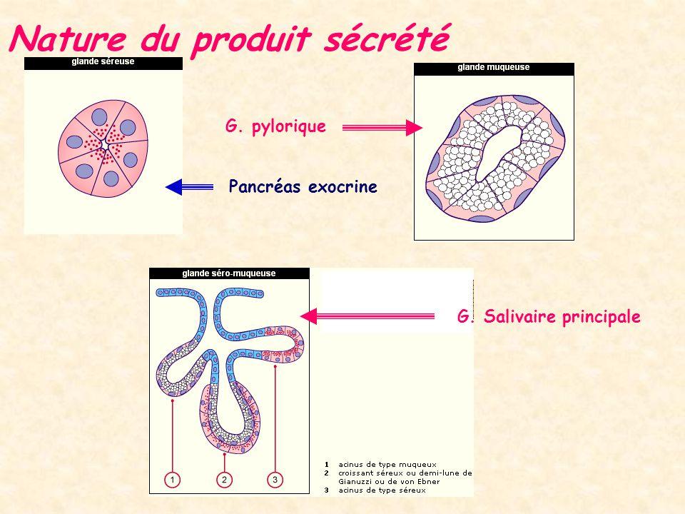 Nature du produit sécrété
