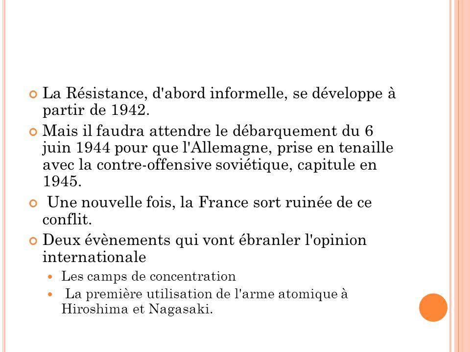 La Résistance, d abord informelle, se développe à partir de 1942.
