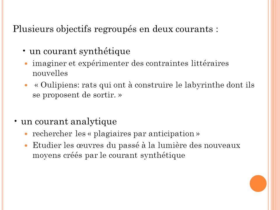 • un courant analytique