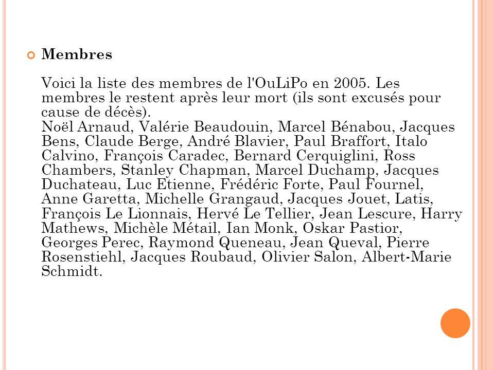Membres Voici la liste des membres de l OuLiPo en 2005