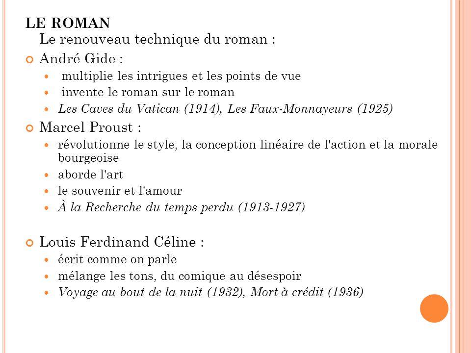 LE ROMAN Le renouveau technique du roman : André Gide :