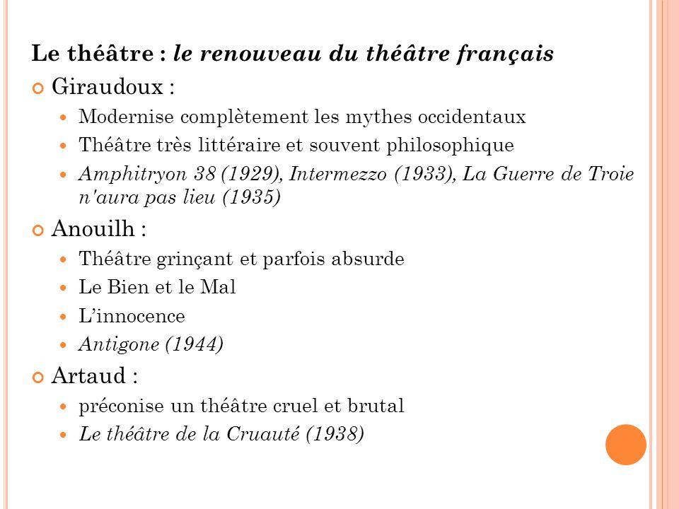 Le théâtre : le renouveau du théâtre français Giraudoux :