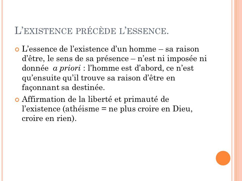 L'existence précède l'essence.