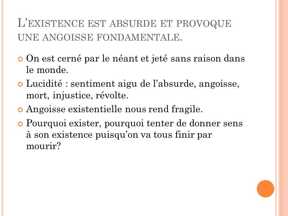 L'existence est absurde et provoque une angoisse fondamentale.