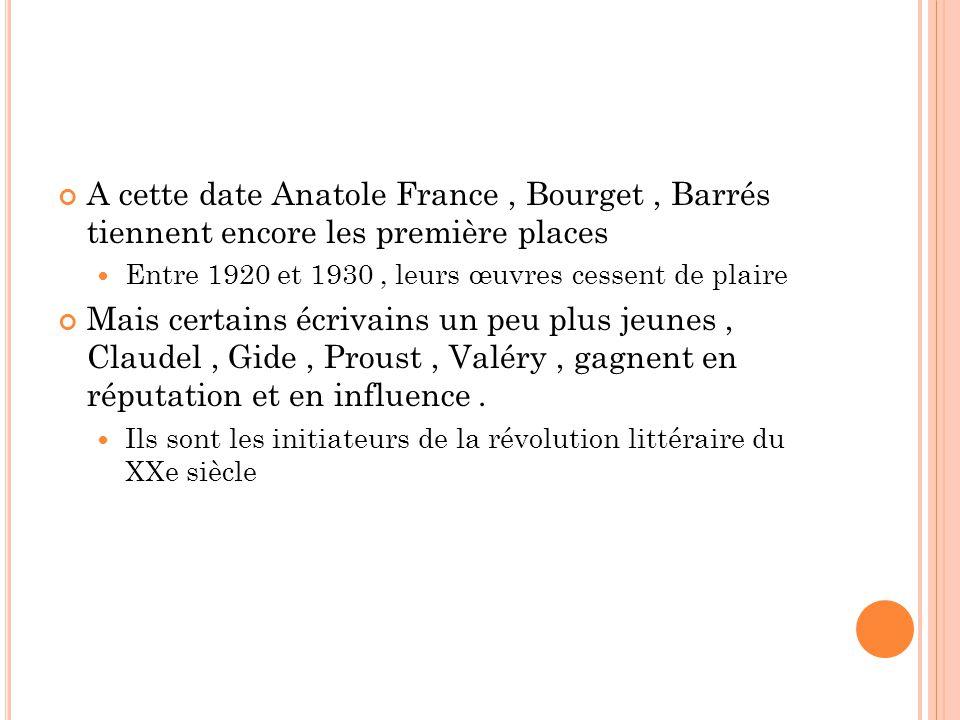 A cette date Anatole France , Bourget , Barrés tiennent encore les première places