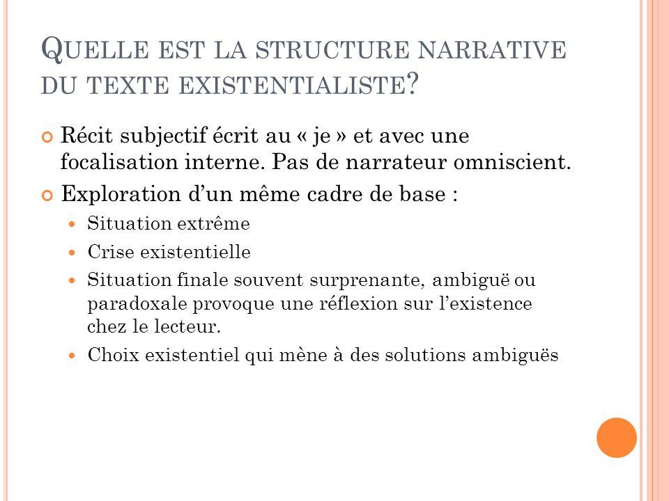 Quelle est la structure narrative du texte existentialiste