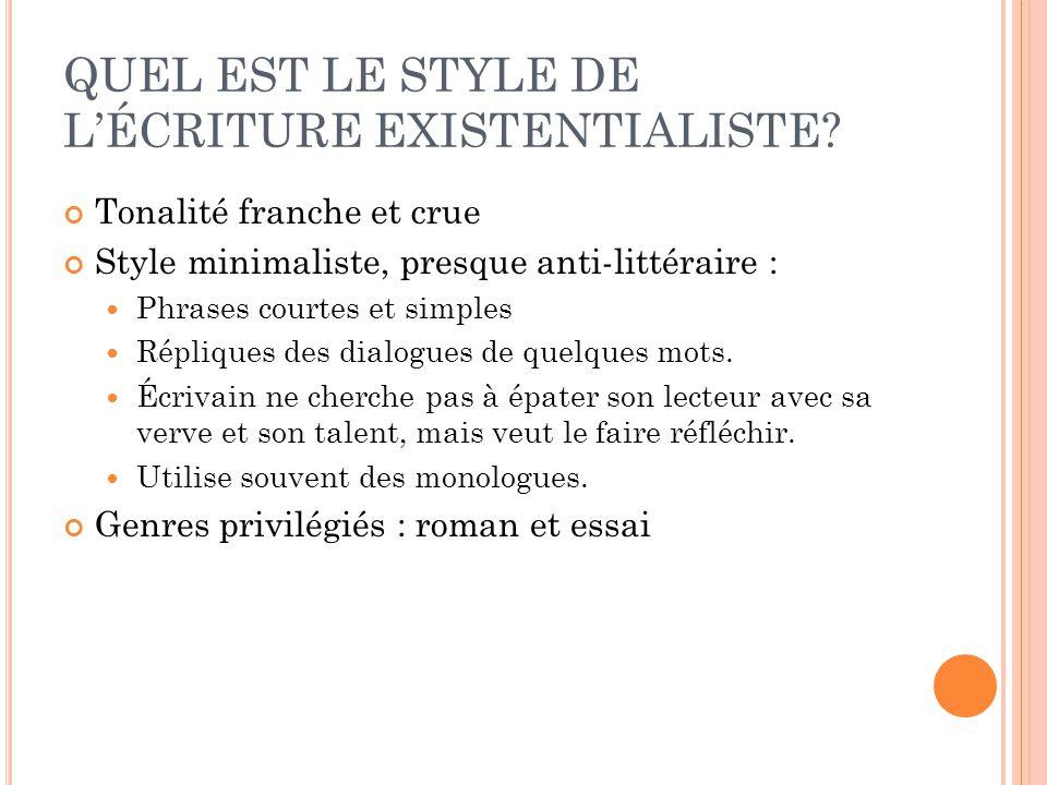 QUEL EST LE STYLE DE L'ÉCRITURE EXISTENTIALISTE