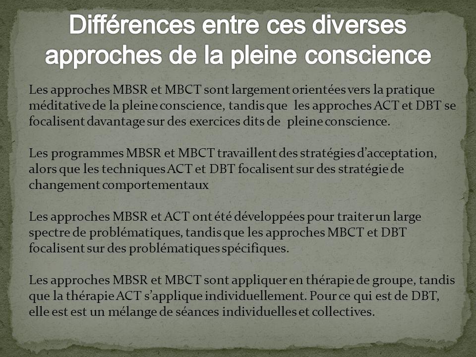 Différences entre ces diverses approches de la pleine conscience