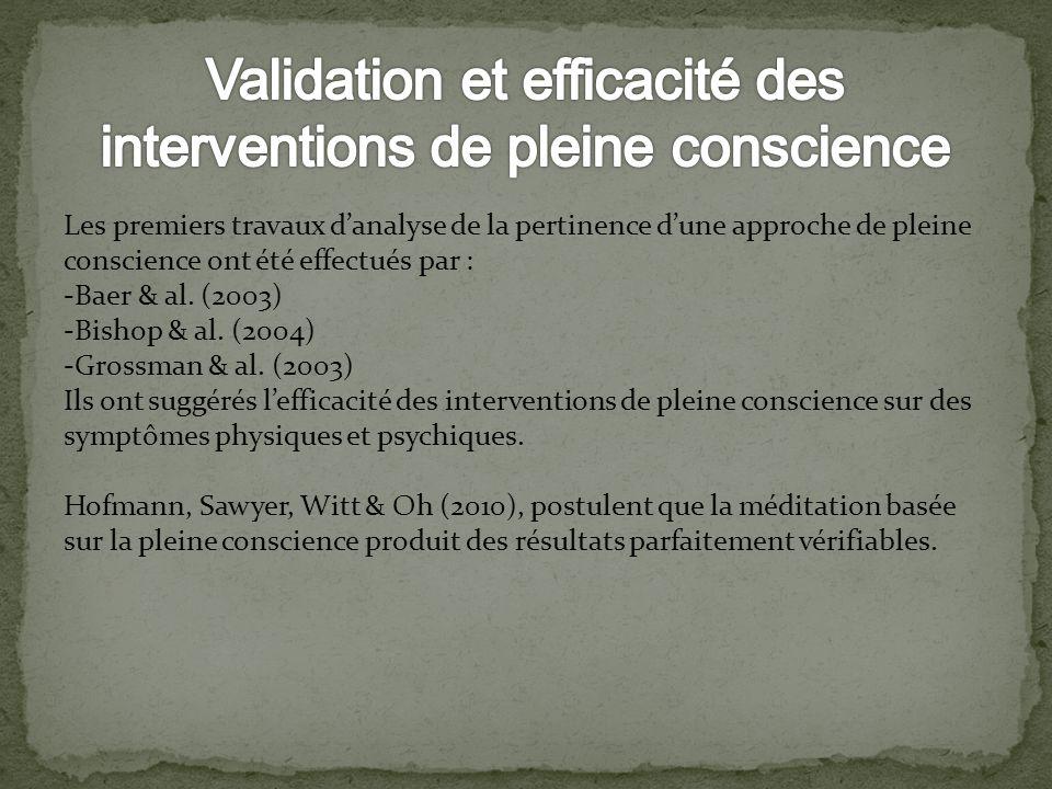 Validation et efficacité des interventions de pleine conscience