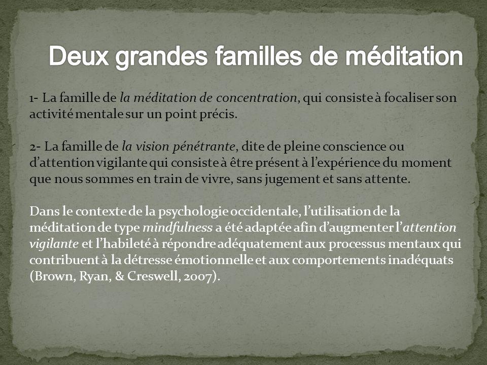 Deux grandes familles de méditation